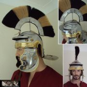 Roman Gallic Helmet With Black & White Crest, 18 Gauge.